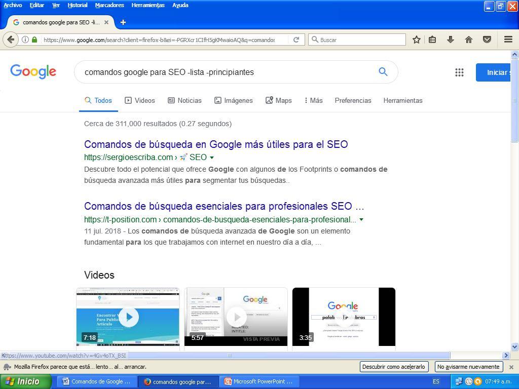 comandos de google para seo